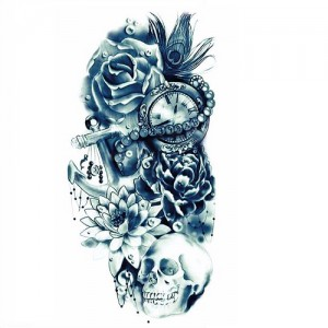 Fake Tattoo Flowers,Skull,Clock,Anchor