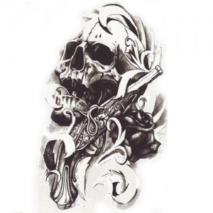 Fake Tattoo Skull & Pistol