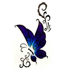 Fake Tattoo Blue Butterflies