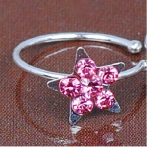 Fake Piercing Crystal Star: Pink