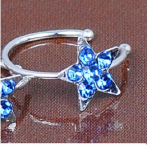 Fake Piercing Crystal Star: Blue