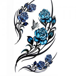 Fake Tattoo Blue Roses