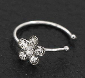 Fake Piercing Crystal Flower